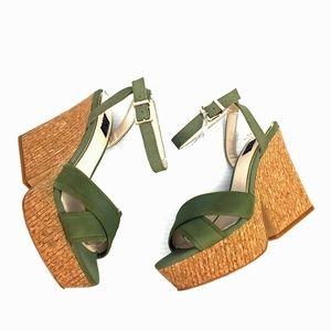 "WHBM ""Clover"" Platform Ankle Strap Sandals"